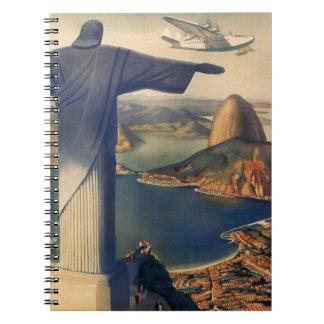 Vintage Rio De Janeiro, Christ the Redeemer Statue Notebooks