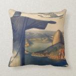 Vintage Rio De Janeiro, Christ the Redeemer Statue Pillows