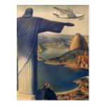 Vintage Rio De Janeiro, Christ the Redeemer Statue Postcard