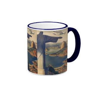 Vintage Rio De Janeiro, Christ the Redeemer Statue Ringer Coffee Mug