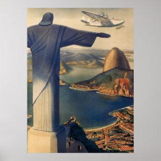 Vintage Río de Janeiro, Cristo la estatua del Póster