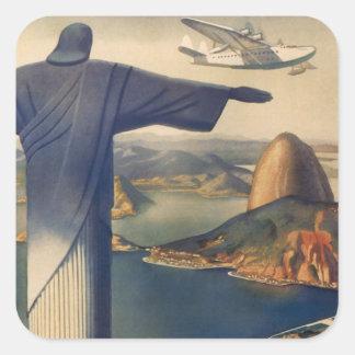 Vintage Río de Janeiro, Cristo la estatua del Calcomanía Cuadradase