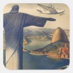 Vintage Río de Janeiro, Cristo la estatua del rede Calcomanías Cuadradas