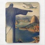 Vintage Río de Janeiro, Cristo la estatua del Tapetes De Ratón