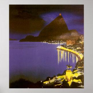 Vintage Río de Janeiro en la noche Póster