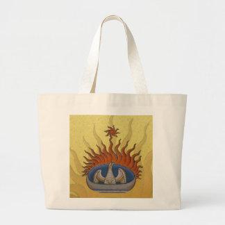 Vintage Rising Phoenix Mythological Firebird Large Tote Bag