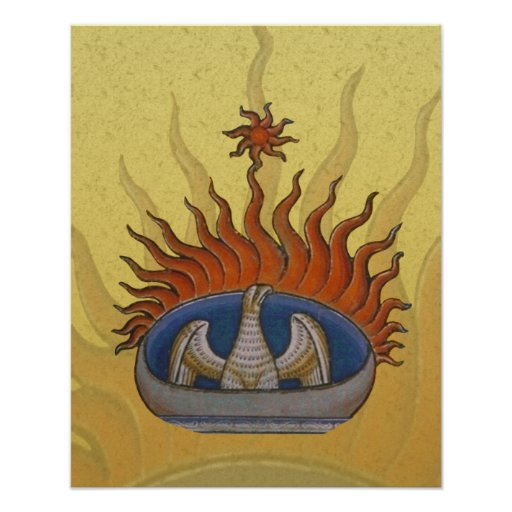 Vintage Rising Phoenix Mythological Firebird Poster