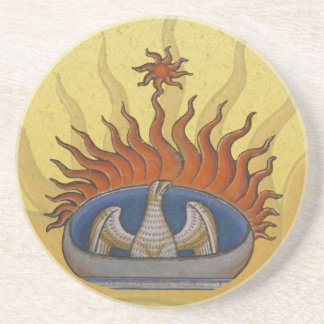 Vintage Rising Phoenix Mythological Firebird Sandstone Coaster
