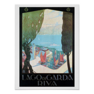Vintage Riva Lake Garda Italian travel ad Poster
