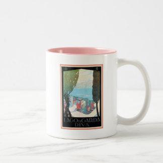 Vintage Riva Lake Garda Italian travel ad Two-Tone Coffee Mug