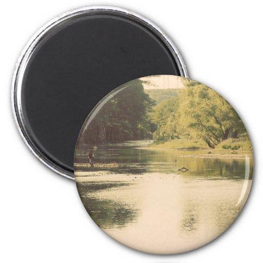 Vintage River 2 Inch Round Magnet