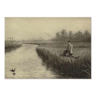 Vintage River Fishing Art Card