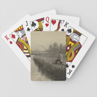 Vintage River Fishing Art Playing Cards