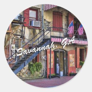 Vintage River Street, Savannah, Georgia Classic Round Sticker