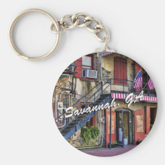 Vintage River Street Savannah Georgia Travel Photo Keychain