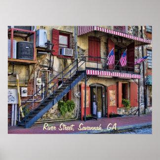 Vintage River Street Savannah Georgia Travel Photo Poster