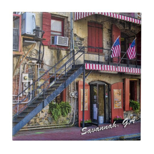 Vintage River Street Savannah Georgia Travel Photo Tile