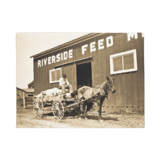 Vintage Riverside Feed Mill Farming Horse Wagon Doormat
