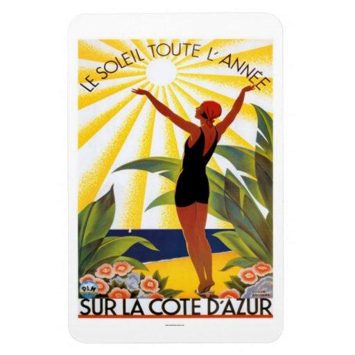 Vintage riviera francesa, Francia - Rectangle Magnet