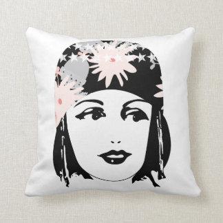 Vintage Roaring 20's  Portrait Flapper Girl Pillow