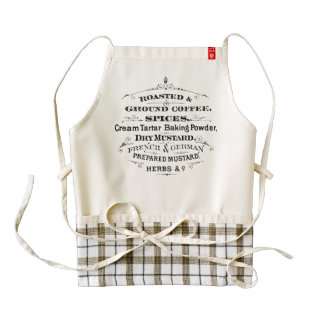 Vintage Roasted Ground Coffee Spices Mustard Zazzle HEART Apron