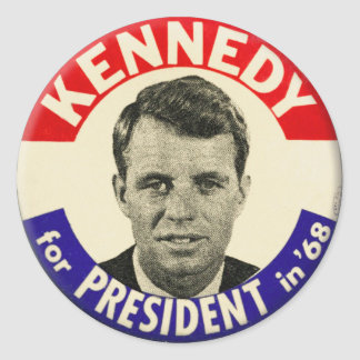 Vintage Robert Kennedy For President Pin 1968 Classic Round Sticker