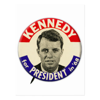 Vintage Robert Kennedy For President Pin 1968 Postcard