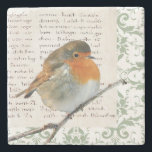 "Vintage Robin bird green damask manuscript Stone Coaster<br><div class=""desc"">Vintage marble stone coaster with Robin bird on green damask and manuscript background.</div>"