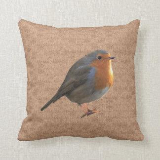 Vintage Robin Birds photos in rustic burlap Throw Pillow