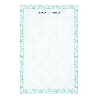 Vintage Robin Egg Blue Turquoise & White Damask #2 Stationery