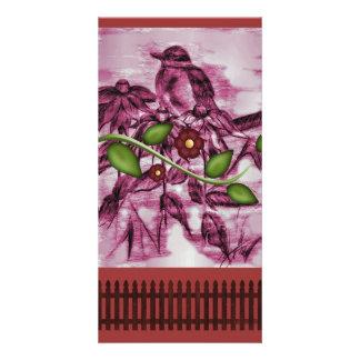 Vintage Robin, flower, fence Card