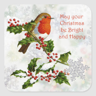 Vintage Robin, holly, snowflake Christmas Square Sticker