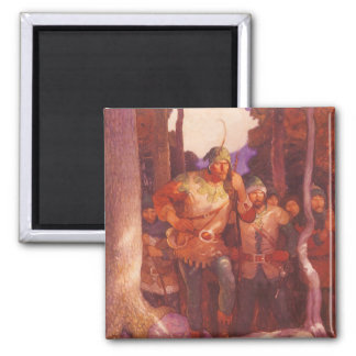Vintage Robin Hood and His Merry Men by NC Wyeth 2 Inch Square Magnet