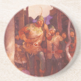 Vintage Robin Hood and His Merry Men by NC Wyeth Sandstone Coaster