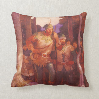 Vintage Robin Hood and His Merry Men by NC Wyeth Throw Pillow