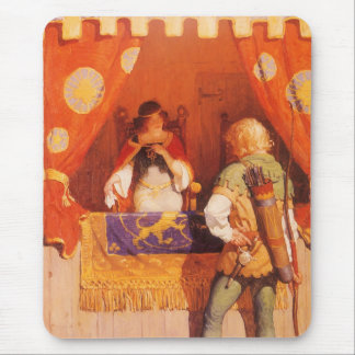 Vintage Robin Hood Meets Maid Marian by NC Wyeth Mouse Pad