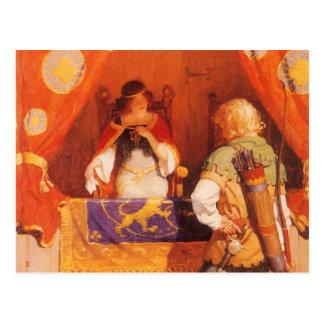 Vintage Robin Hood Meets Maid Marian by NC Wyeth Postcard