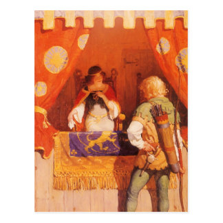 Vintage Robin Hood Meets Maid Marian by NC Wyeth Postcard