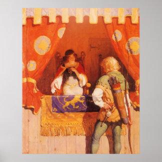 Vintage Robin Hood Meets Maid Marian by NC Wyeth Poster