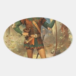 vintage-robin-hood-poster oval sticker