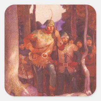 Vintage Robin Hood y sus felices hombres por NC Calcomanía Cuadrada