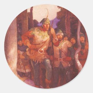 Vintage Robin Hood y sus felices hombres por NC Pegatina Redonda