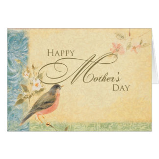 Vintage Robin Mother's Day Greeting Card