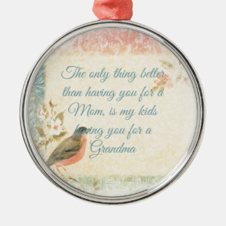 Vintage Robin Mother's Day Round Metal Christmas Ornament