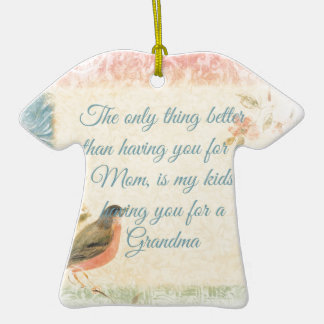 Vintage Robin Mother's Day Double-Sided T-Shirt Ceramic Christmas Ornament