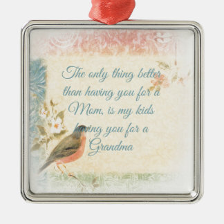 Vintage Robin Mother's Day Square Metal Christmas Ornament