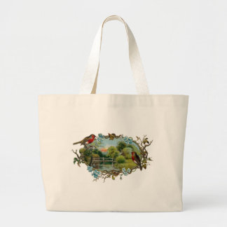 Vintage Robins and Forget-Me-Nots Large Tote Bag