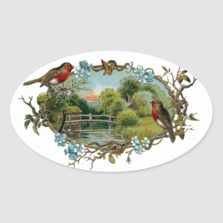 Vintage Robins and Forget-Me-Nots Oval Sticker