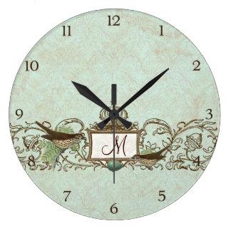 Vintage Robins Egg Blue Birds Scroll Monogram Large Clock