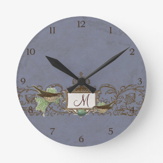 Vintage Robins Egg Blue Birds Scroll Monogram Round Clock